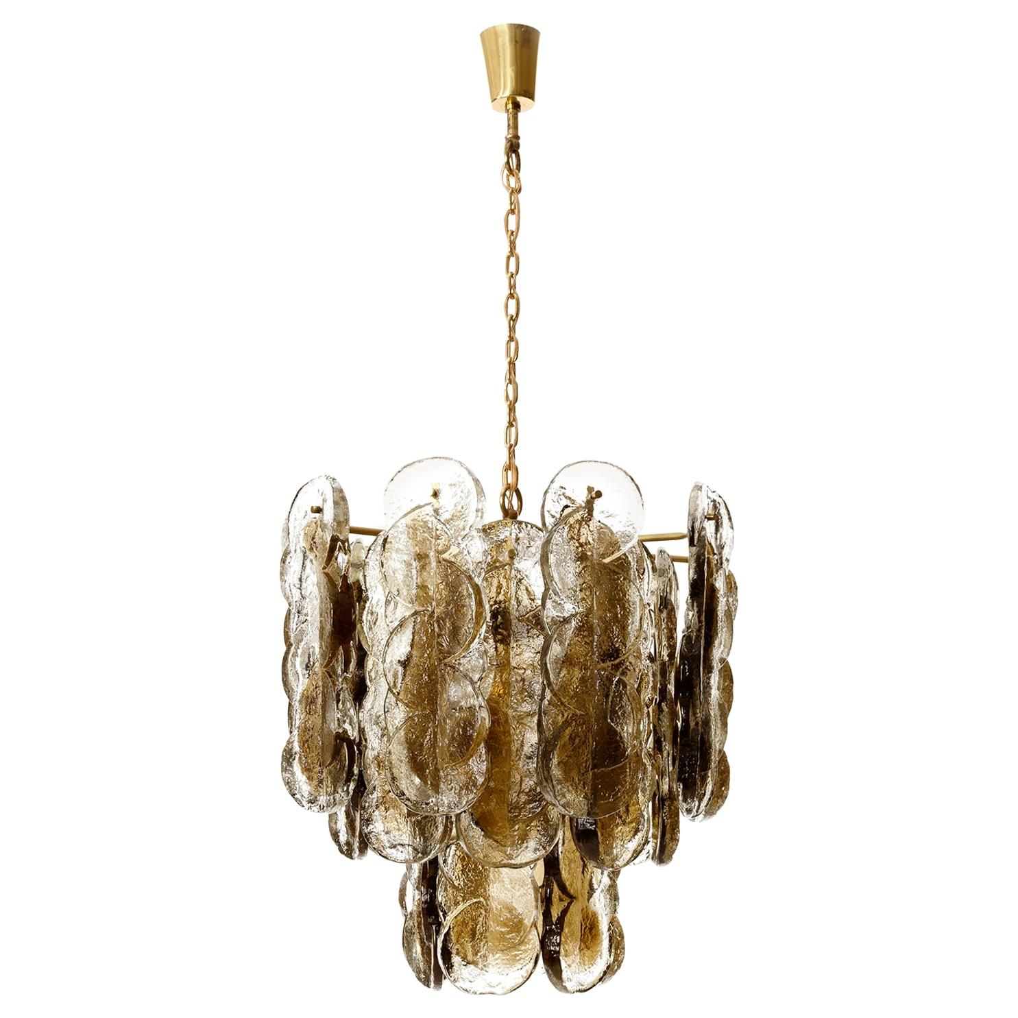 Large Kalmar Chandelier Pendant Light 'Citrus', Brass Amber Glass, 1970s