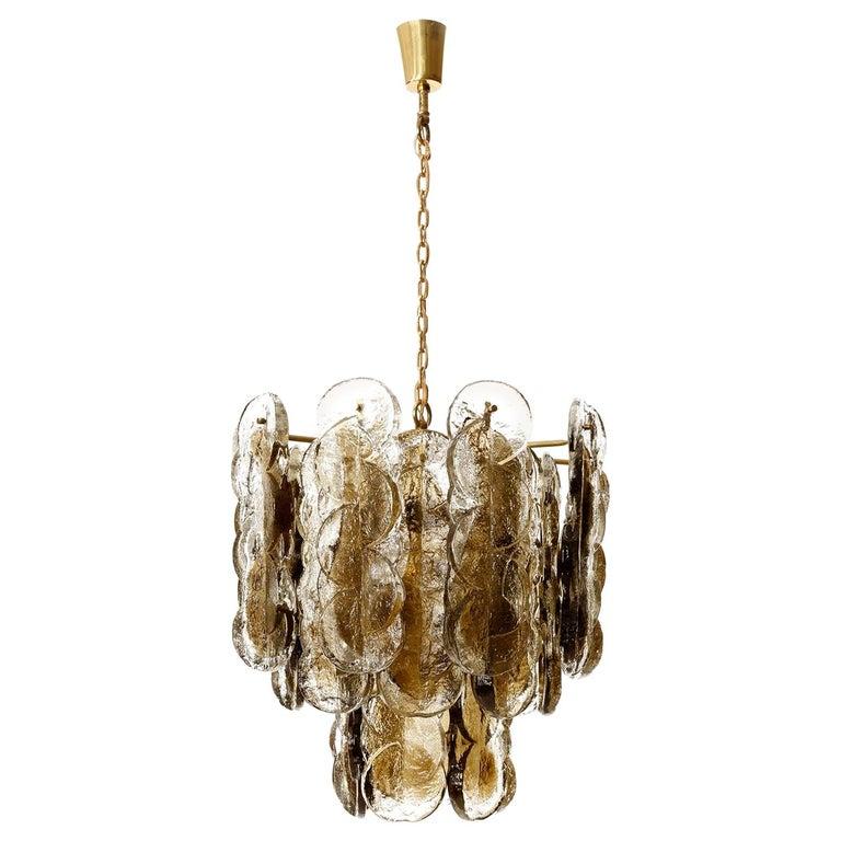 Large Kalmar Chandelier Pendant Light 'Citrus', Brass Amber Glass, 1970s For Sale