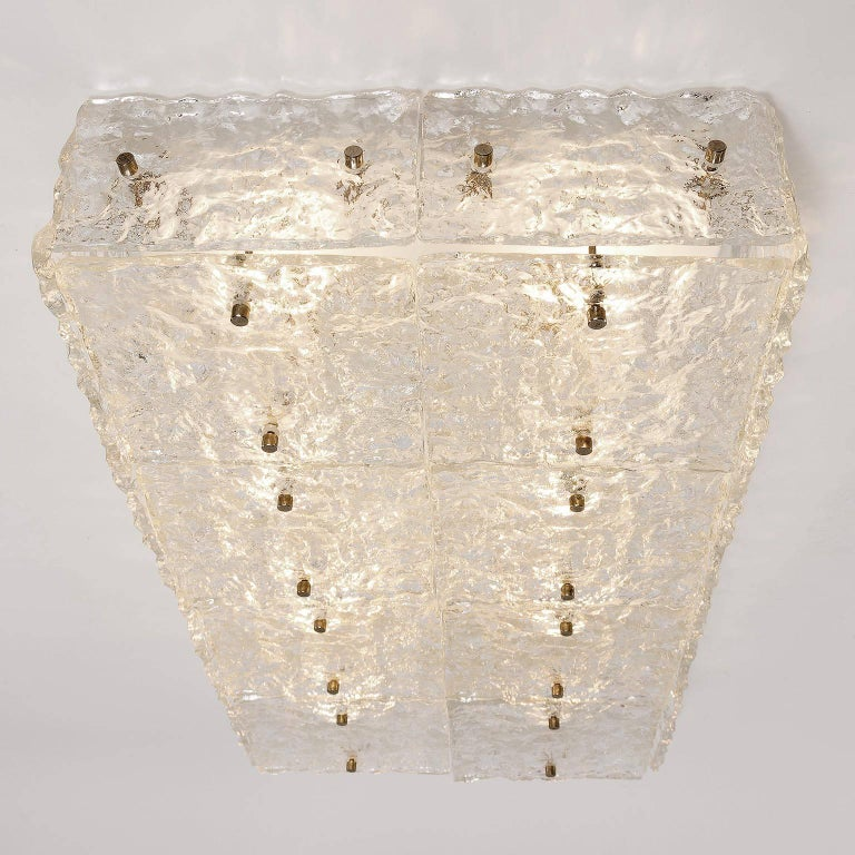 Large Kalmar 'Dachstein' Glass Flush Mount Light or Sconce, 1970 In Excellent Condition For Sale In Vienna, AT