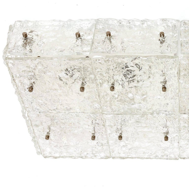 Late 20th Century Large Kalmar 'Dachstein' Glass Flush Mount Light or Sconce, 1970 For Sale