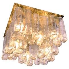 1960 Austria Kalmar 'Granada' Flush Mount Iced Glass & Brass