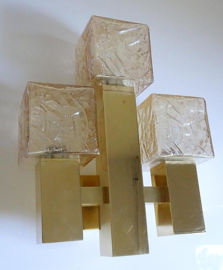 Large Kalmar Glass Brass Mirror Vanity Sconce, Gio Ponti Era For Sale 4