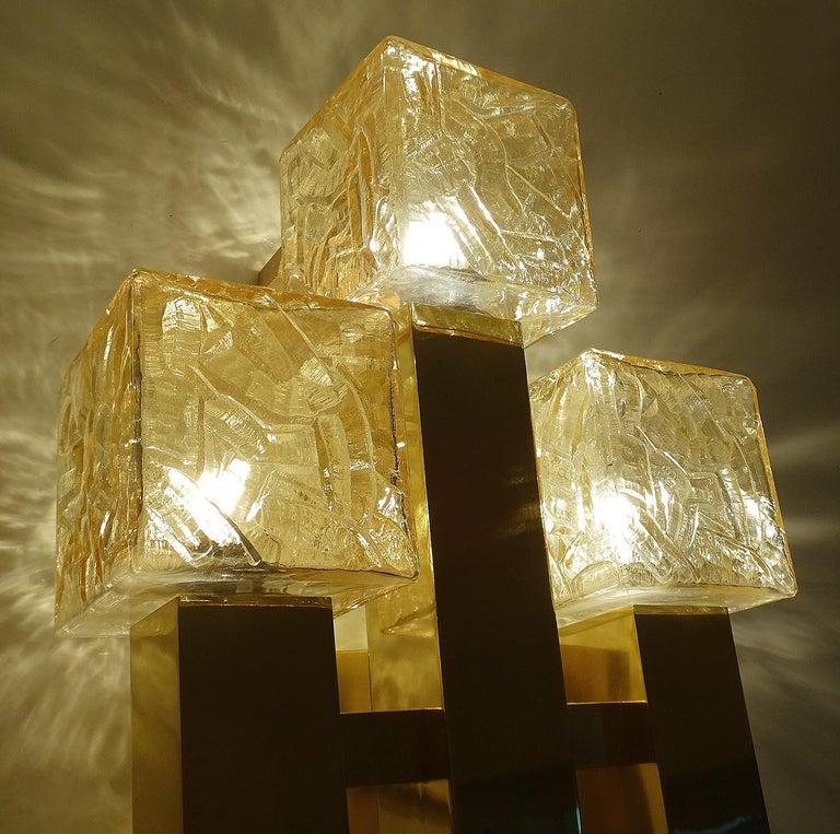 Large Kalmar Glass Brass Mirror Vanity Sconce, Gio Ponti Era For Sale 5