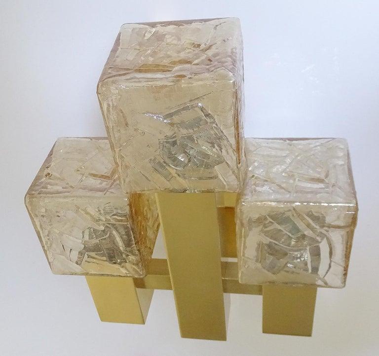 Large Kalmar Glass Brass Mirror Vanity Sconce, Gio Ponti Era For Sale 6