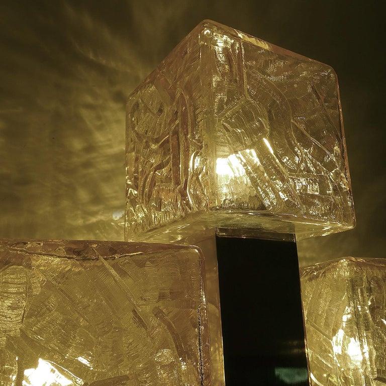 Large Kalmar Glass Brass Mirror Vanity Sconce, Gio Ponti Era For Sale 7
