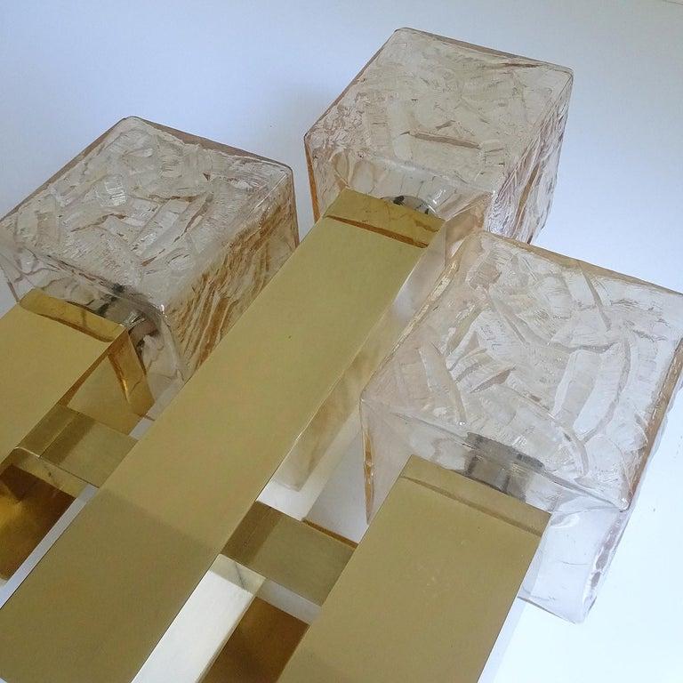 Large Kalmar Glass Brass Mirror Vanity Sconce, Gio Ponti Era For Sale 8