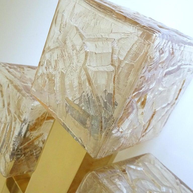 Large Kalmar Glass Brass Mirror Vanity Sconce, Gio Ponti Era For Sale 13