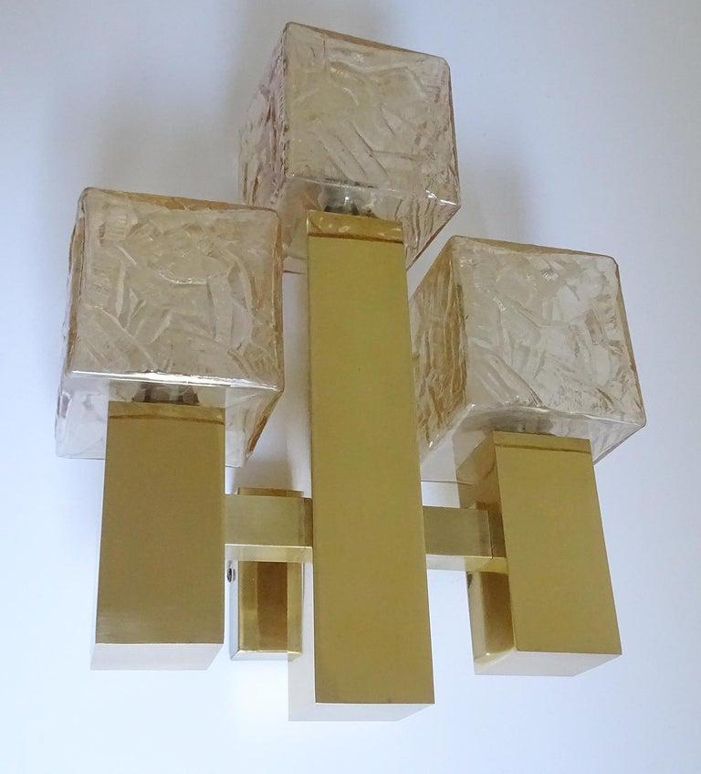 Mid-Century Modern Large Kalmar Glass Brass Mirror Vanity Sconce, Gio Ponti Era For Sale