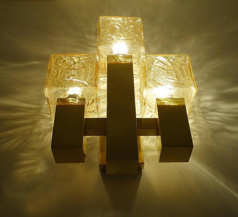 Austrian Large Kalmar Glass Brass Mirror Vanity Sconce, Gio Ponti Era For Sale
