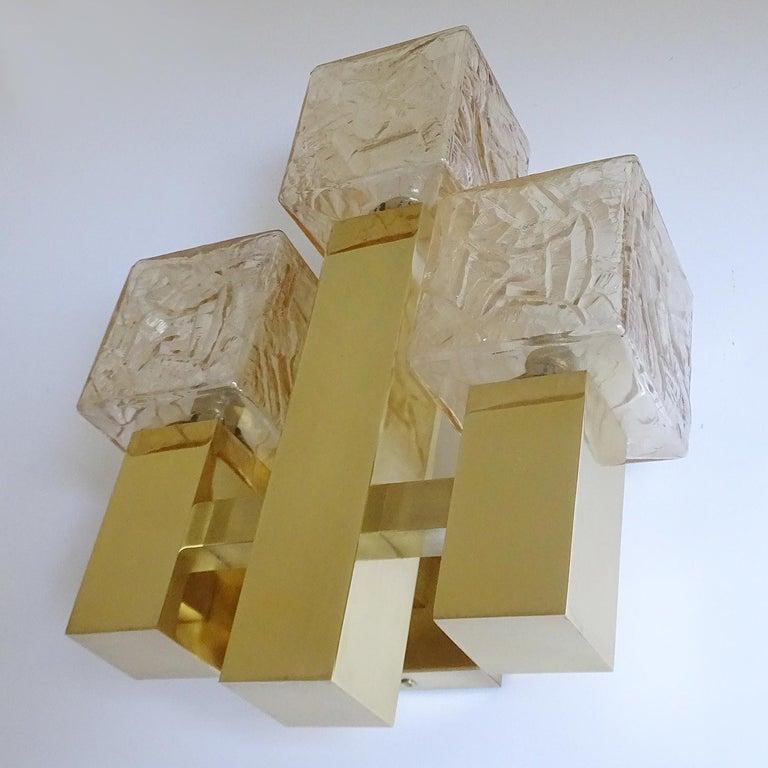 Large Kalmar Glass Brass Mirror Vanity Sconce, Gio Ponti Era In Good Condition For Sale In Bremen, DE