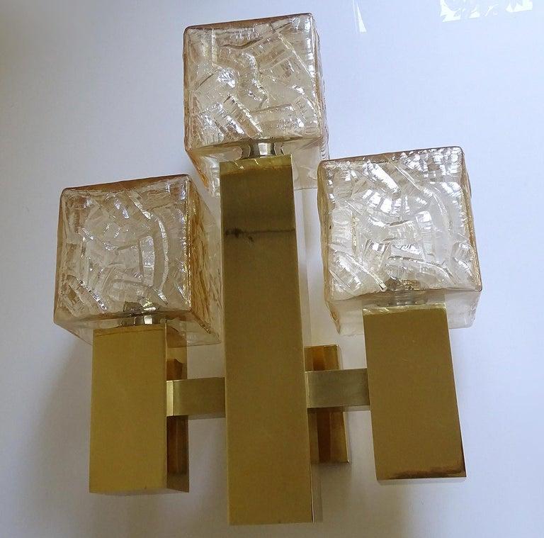 Blown Glass Large Kalmar Glass Brass Mirror Vanity Sconce, Gio Ponti Era For Sale