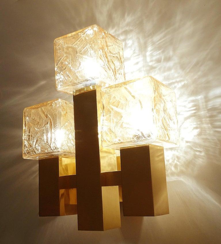 Large Kalmar Glass Brass Mirror Vanity Sconce, Gio Ponti Era For Sale 1
