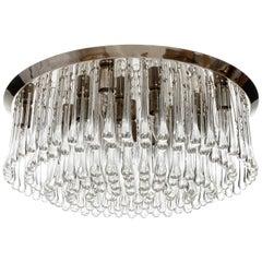 Large Kalmar Glass Flush Mount Light Fixture 'Drops', 1970s