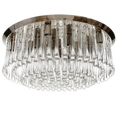Large Kalmar Glass Flush Mount Light Fixture 'Drops', 1970s