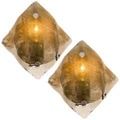 Large Kalmar Murano Smoke Glass Sconces or Wall Lights, 1970s