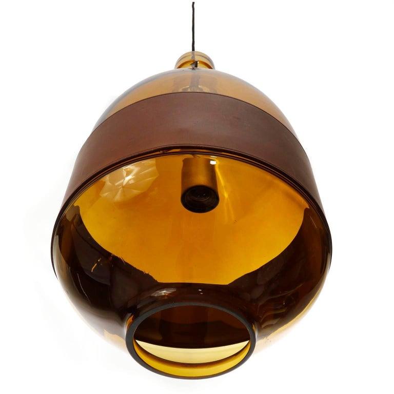 Mid-Century Modern Large Kalmar Pendant Light, Amber Glass Leather, 1970 For Sale