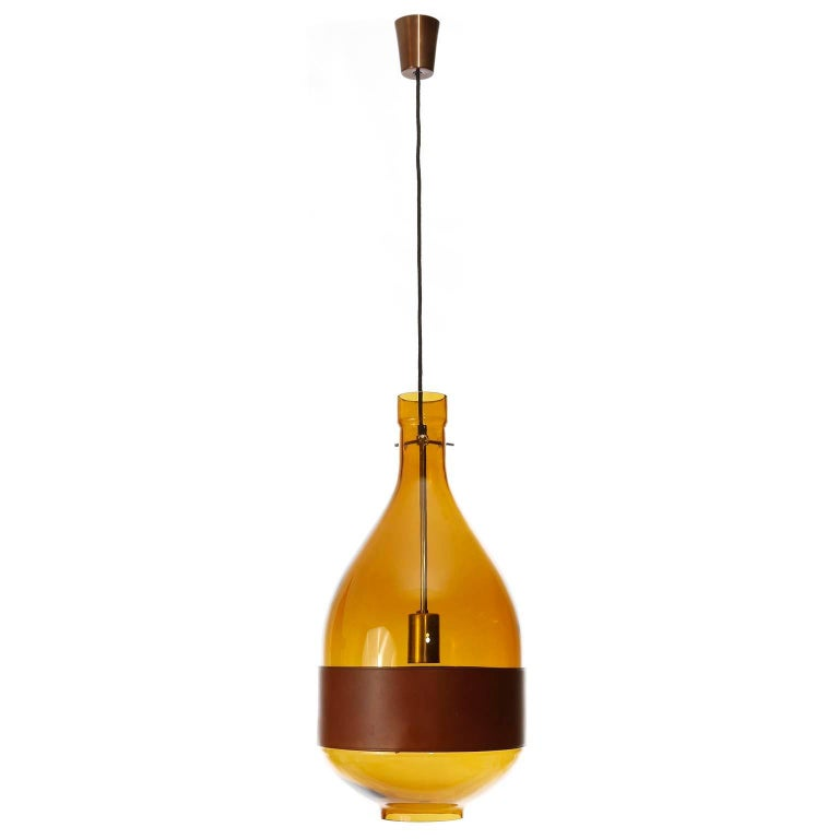 Austrian Large Kalmar Pendant Light, Amber Glass Leather, 1970 For Sale