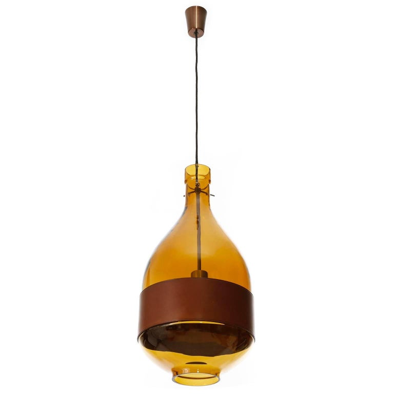 Large Kalmar Pendant Light, Amber Glass Leather, 1970 In Good Condition For Sale In Vienna, AT