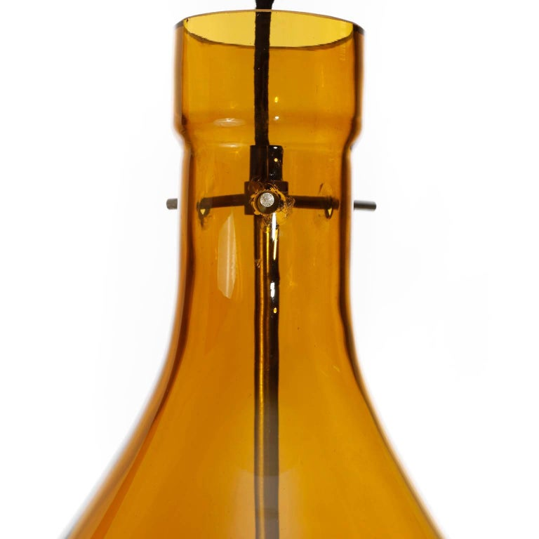 Large Kalmar Pendant Light, Amber Glass Leather, 1970 For Sale 1