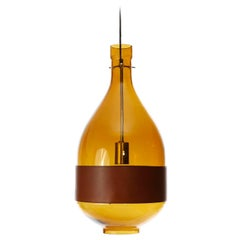 Large Kalmar Pendant Light, Amber Glass Leather, 1970