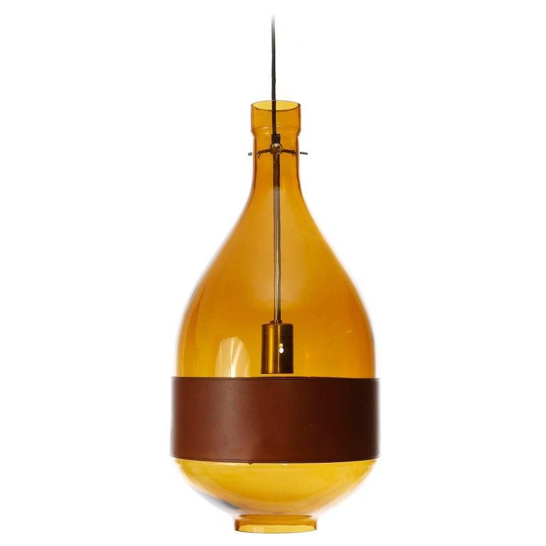 Large Kalmar Pendant Light, Amber Glass Leather, 1970 For Sale