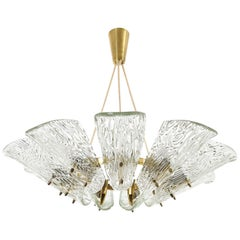 Large Kalmar Pendant Light or Chandelier, Brass Glass, 1960