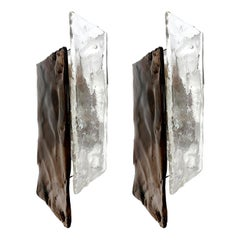 Large Kalmar Sconces, Smoked and Clear Glass, Nickel, 1970