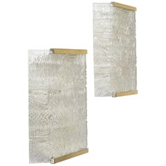 Large Kalmar Textured Glass Sconces, 1950s