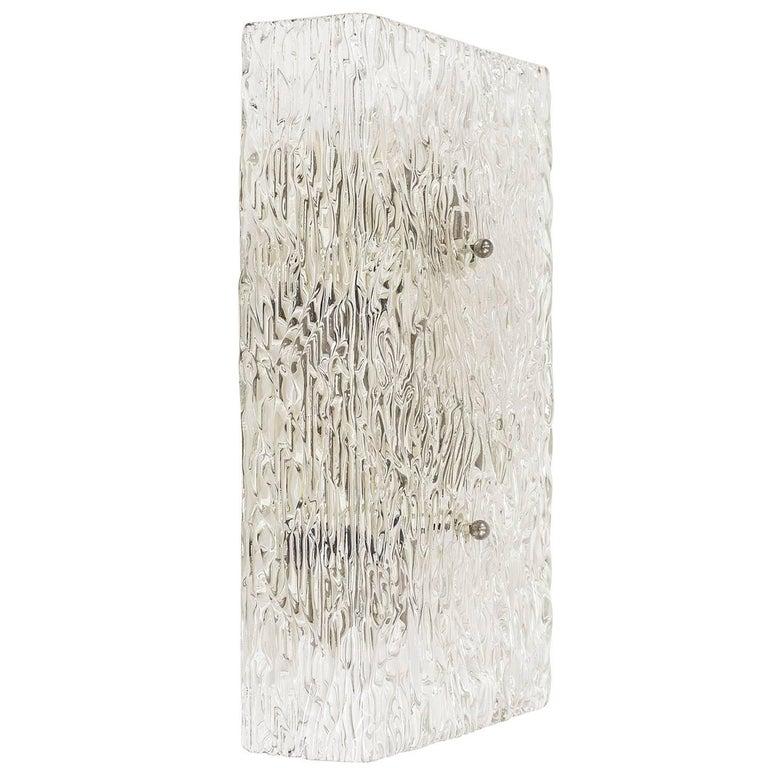 Large Kalmar Textured Glass Wall Light, 1950s