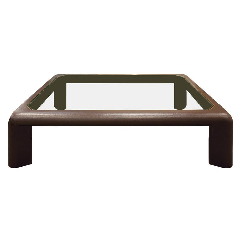 "Large Karl Springer ""Mark II Coffee Table"" in Lacquered Linen, 1980s For Sale"