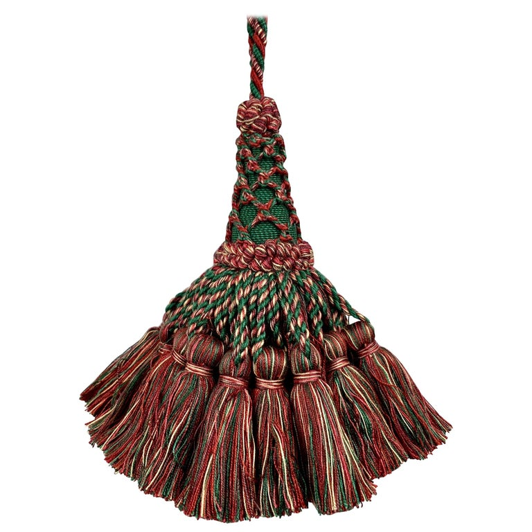 Houlés of Paris Passementerie Large Gland Clé (Key Tassel) Red/Green  For Sale