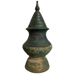 Large Khmer Bronze Stupa-Form Lime Pot, Angkor Period, 12th-14th Century