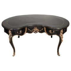 Large Kidney Shape black Lacquered French Desk