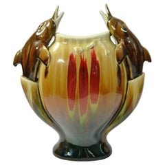 Large Kitschy Dolphin Ornamented Chinese Porcelain Vase, 1950s