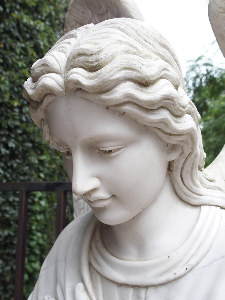 Large Kneeling Angel Statue in Carved Marble at 1stdibs
