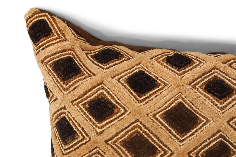 Large Kuba cloth cushion: face is made from vintage Kuba cloth (raphia palm with cut pile to resemble velvet). Backed by hand-dyed vintage hemp. Includes zip fastener and feather insert.