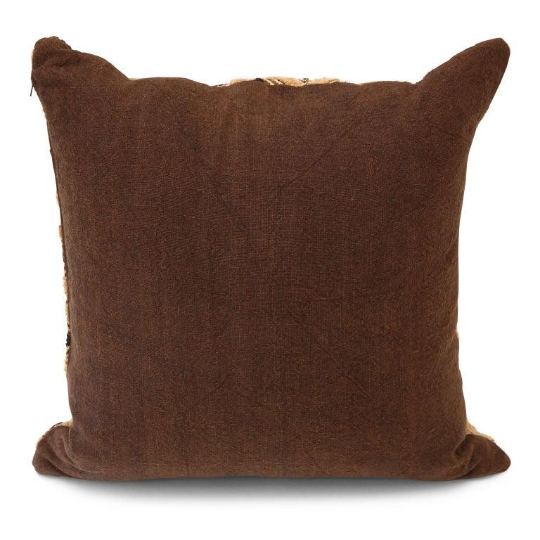 Hand-Woven Large Kuba Cloth Cushion For Sale