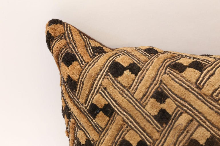 Hand-Woven Large Kuba Cloth Cushion For Sale