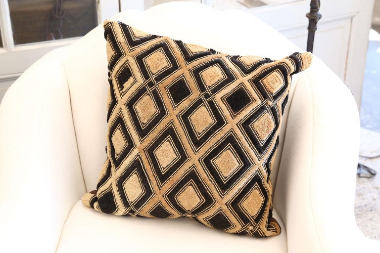 Contemporary Large Kuba Cloth Cushion For Sale