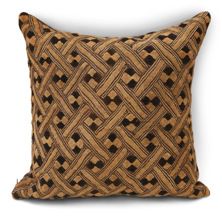 Hemp Large Kuba Cloth Cushion For Sale