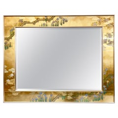 Large LaBarge Chinoiserie Signed Hand Painted Eglomise Gold Mirror