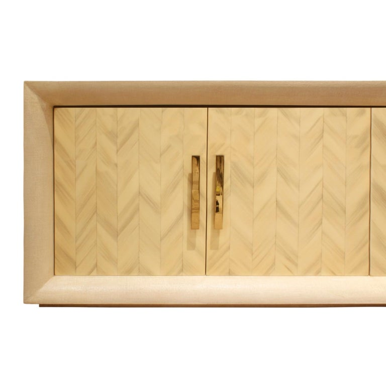 American Large Lacquered Linen Credenza with Herringbone Lacquer Doors, 1970s For Sale