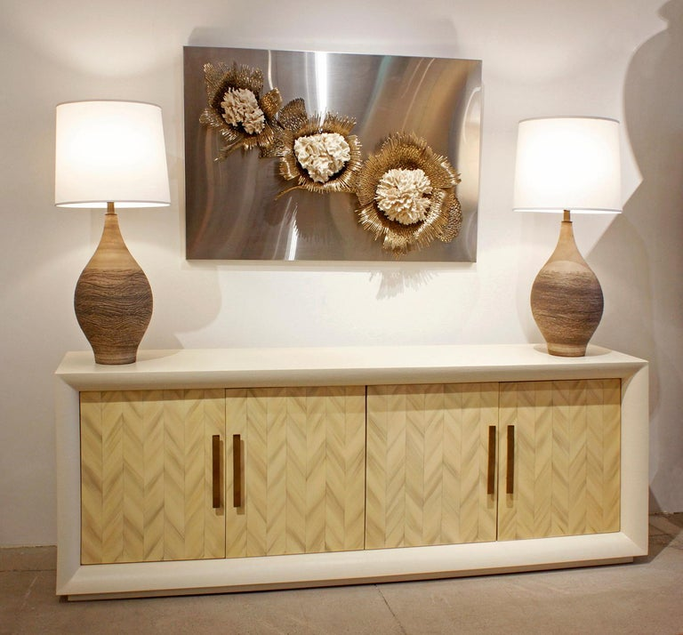 Late 20th Century Large Lacquered Linen Credenza with Herringbone Lacquer Doors, 1970s For Sale