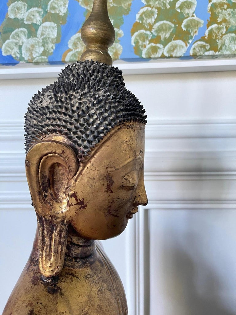 Large Lacquered Wood Antique Burmese Buddha Statue For Sale 5