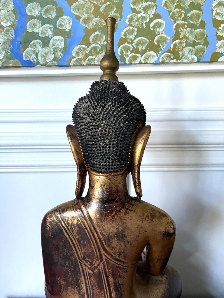 Large Lacquered Wood Antique Burmese Buddha Statue For Sale 6