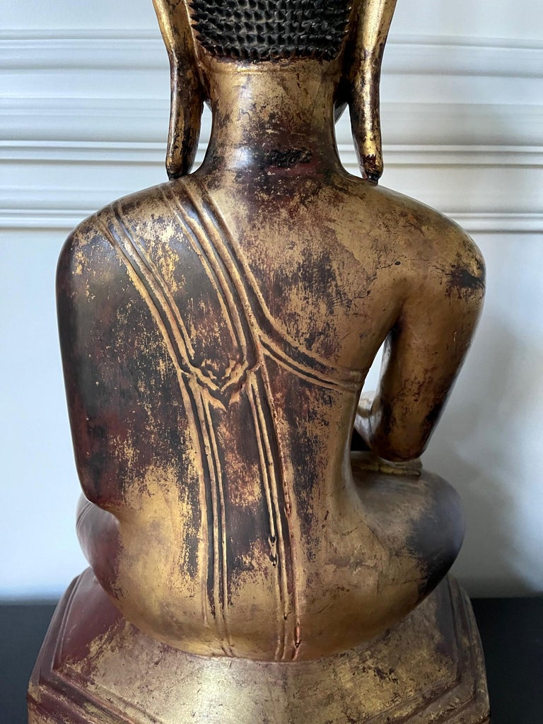 Large Lacquered Wood Antique Burmese Buddha Statue For Sale 12