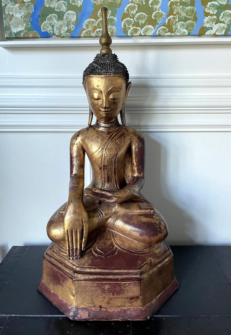 Large Lacquered Wood Antique Burmese Buddha Statue For Sale 15