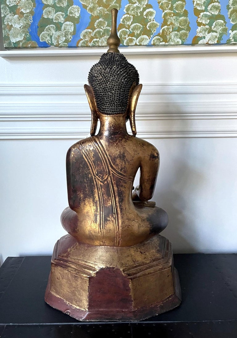 19th Century Large Lacquered Wood Antique Burmese Buddha Statue For Sale