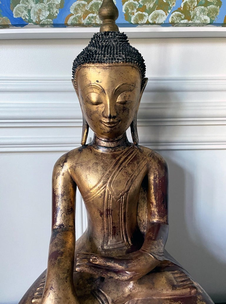 Large Lacquered Wood Antique Burmese Buddha Statue For Sale 2