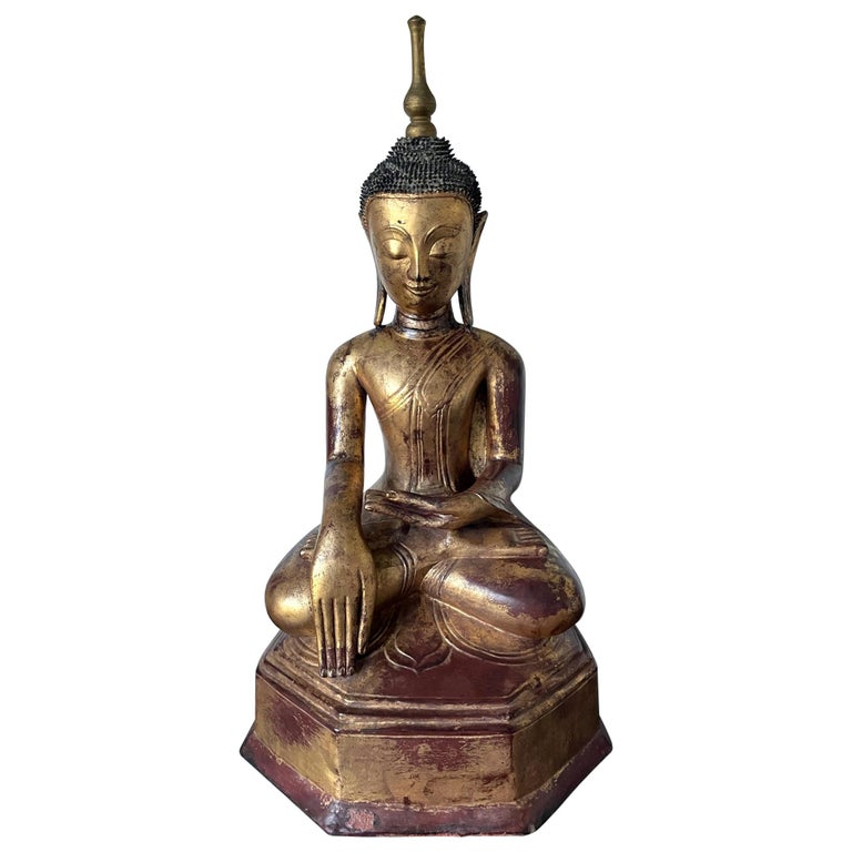 Large Lacquered Wood Antique Burmese Buddha Statue For Sale